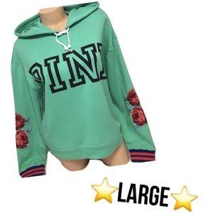pink vs sea foam green rose embroidery hoodie rare